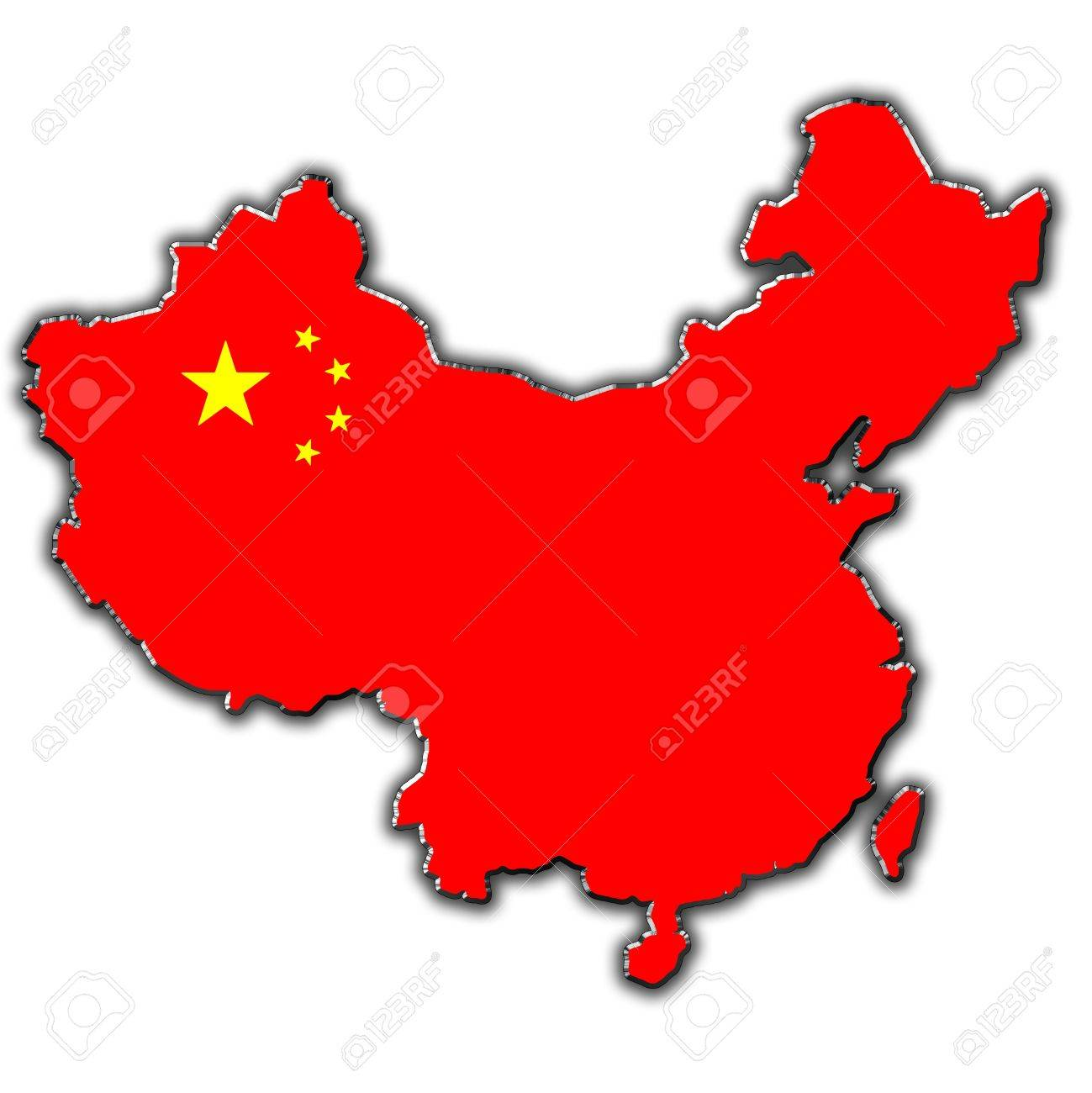 Outline Map Of China Covered In Chinese Flag Stock Photo, Picture ...