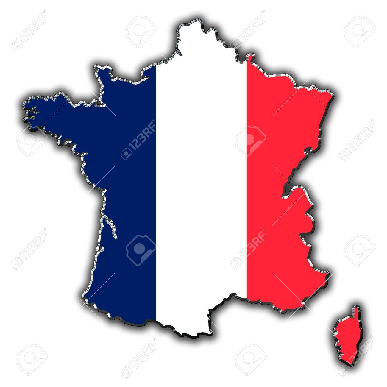 Outline Map Of France Covered In French Flag Stock Photo Picture And Royalty Free Image Image 16056293