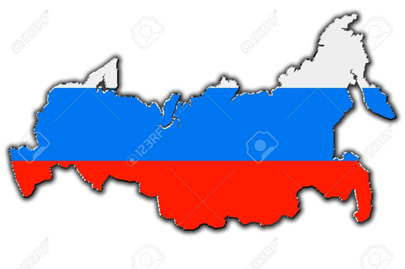 Outline Map Of Russia Covered In Russian Flag Stock Photo Picture