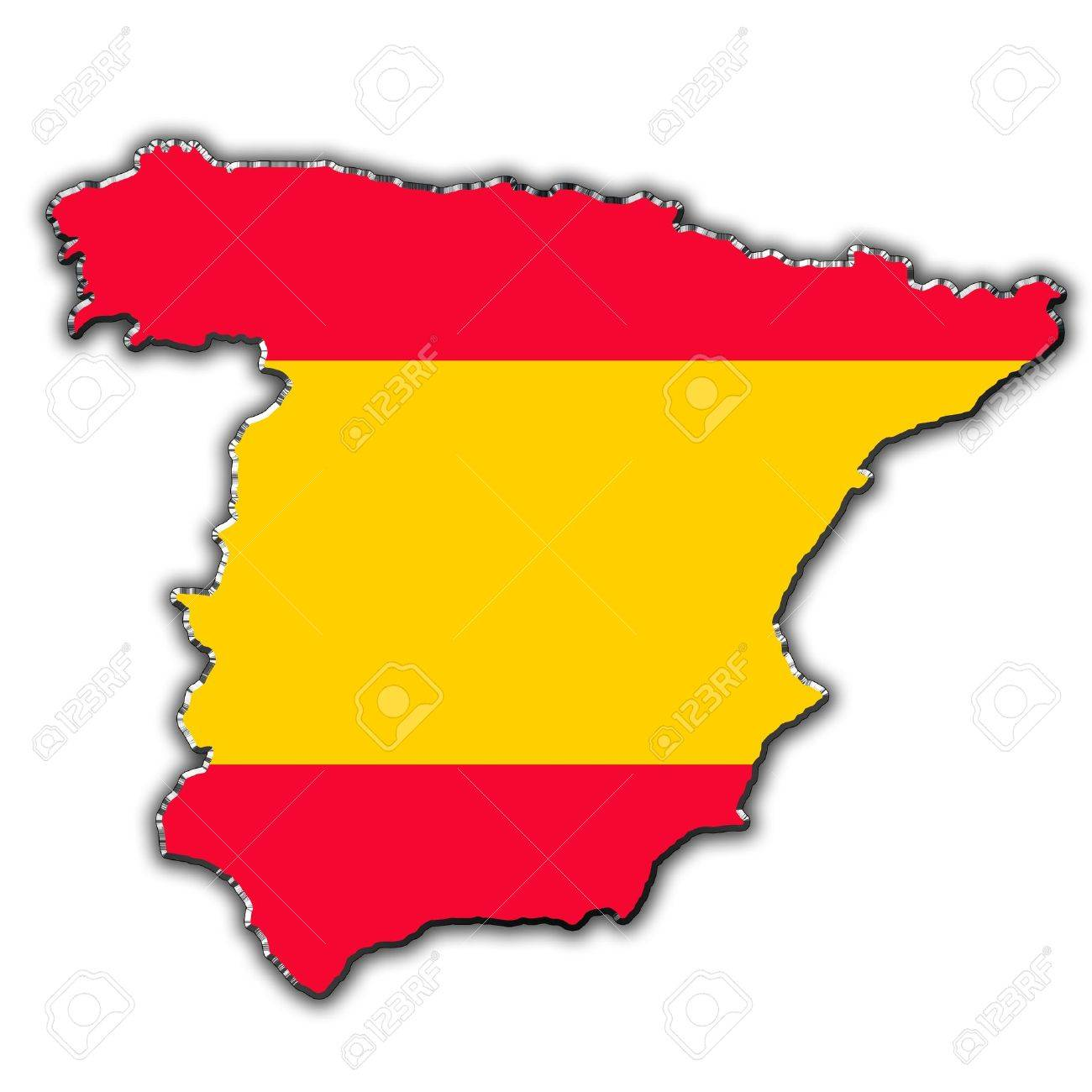 Outline Map Of Spain Covered In Spanish Flag Stock Photo Picture