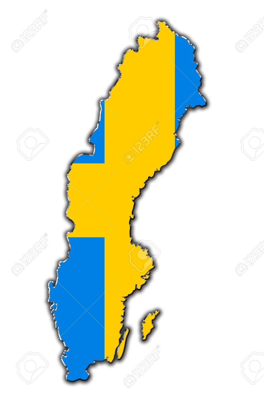 Outline Map Of Sweden Covered In Swedish Flag Stock Photo Picture - Sweden map flag