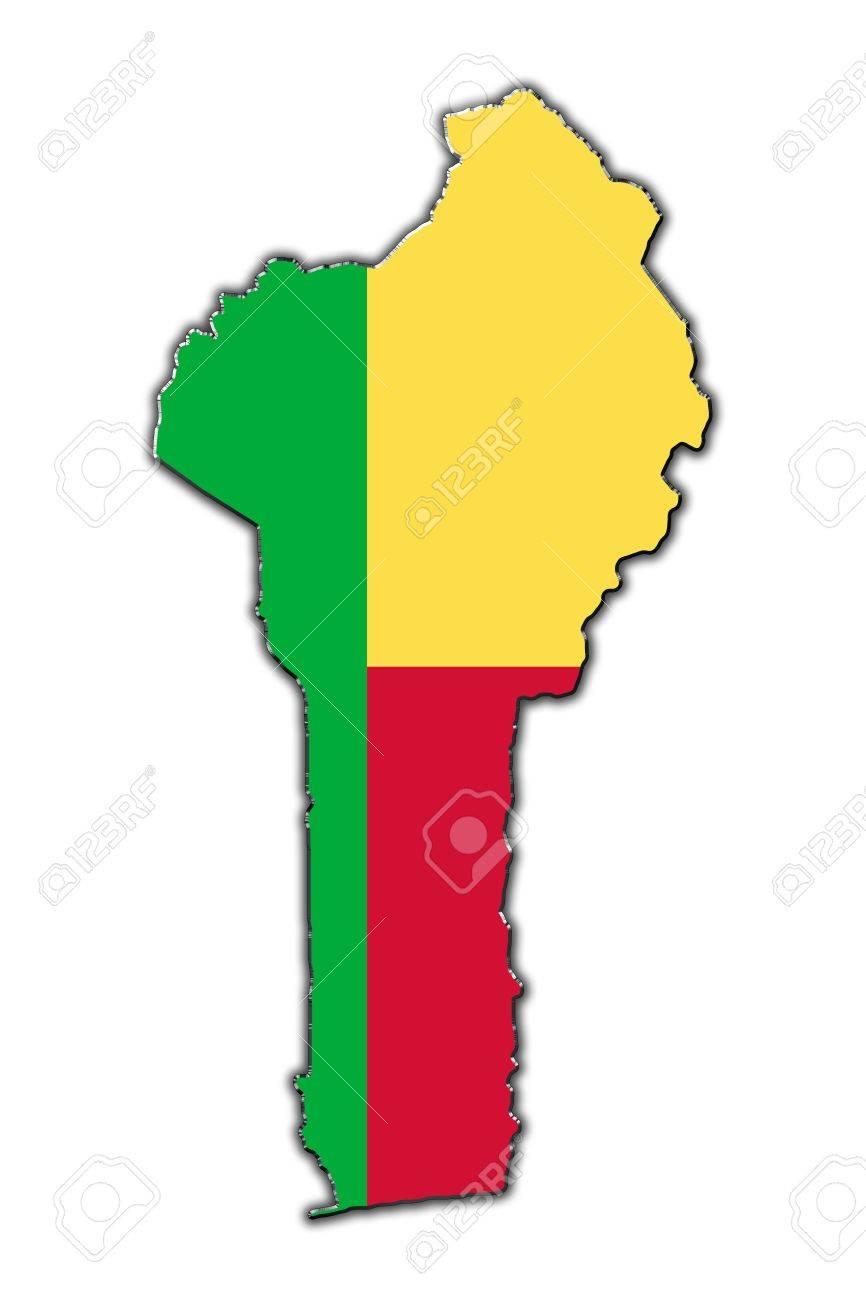 Outline map of Benin covered in flag of Benin Stock Photo - 16172319