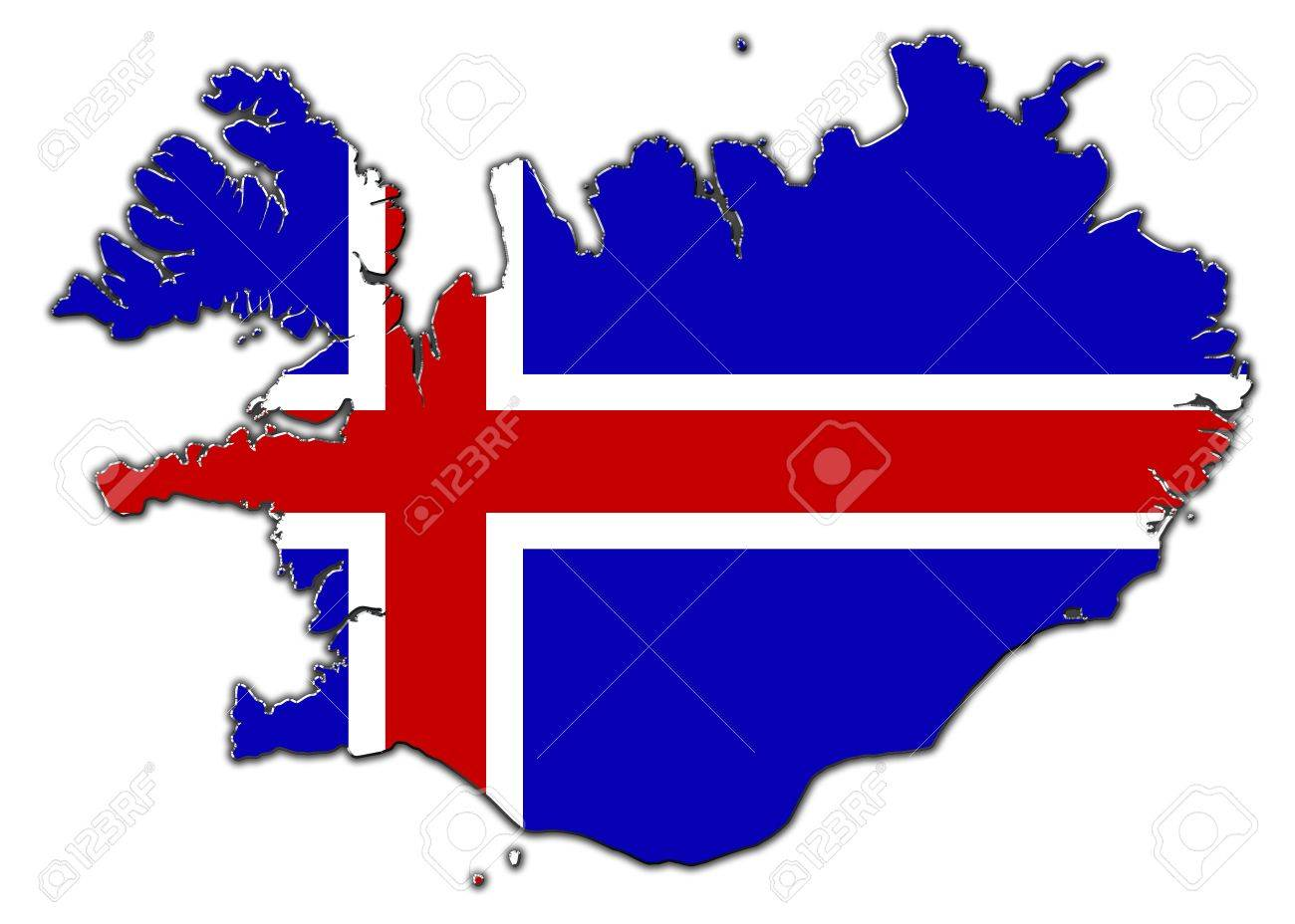 Image of: Outline Map Of Iceland Covered In Flag Of Iceland Stock Photo Picture And Royalty Free Image Image 16172427