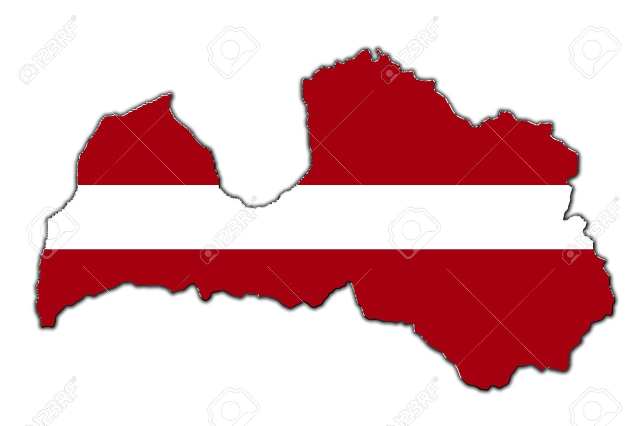 Outline Map Of Latvia Covered In Latvian Flag Stock Photo Picture - Latvia map outline