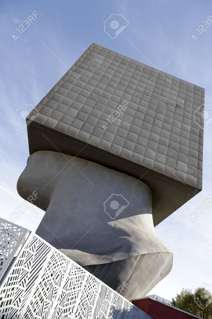 NICE, FRANCE - MAY 11, 2014 La Tete Carree, Massive Cube-shaped ...