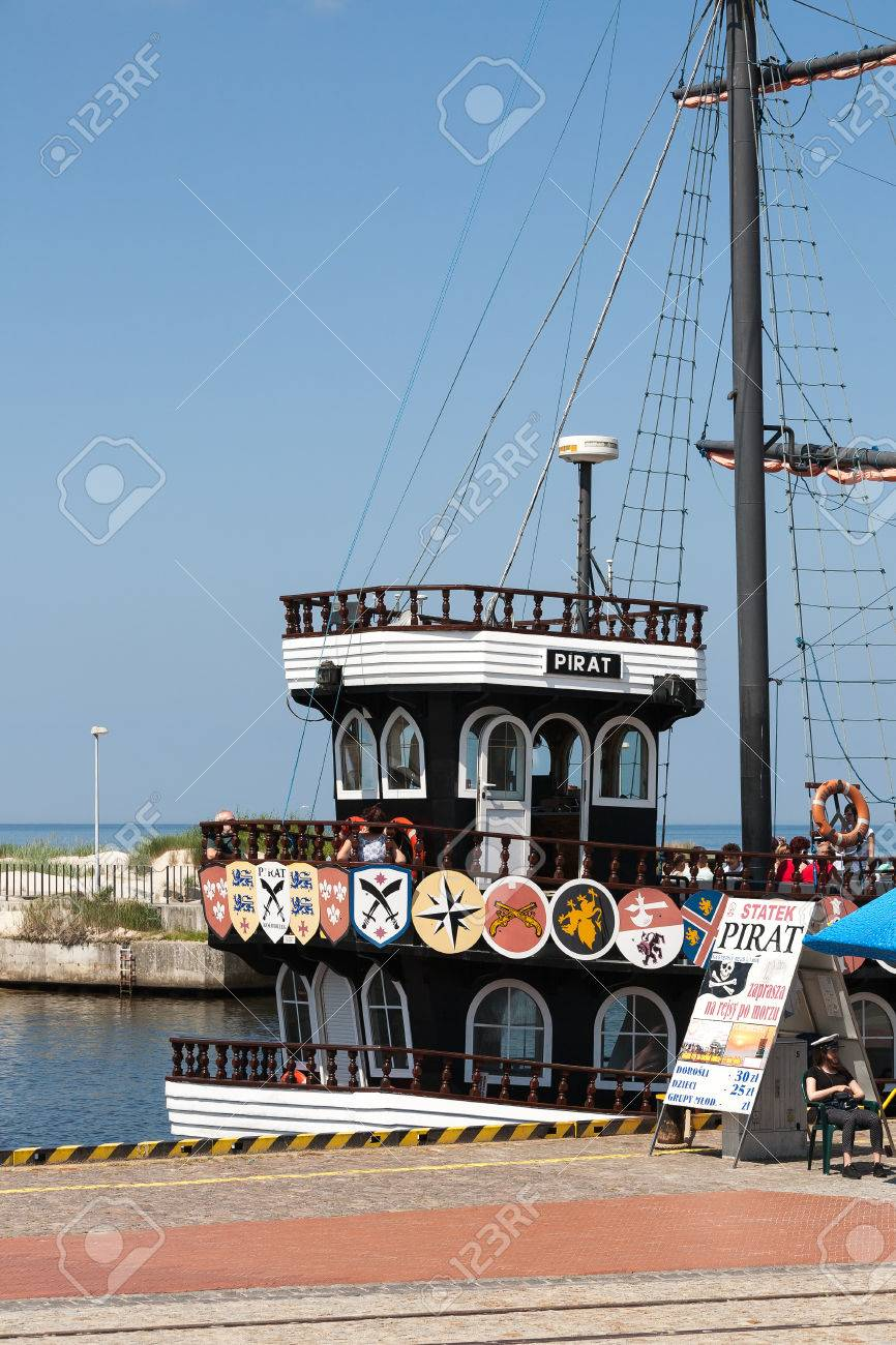 Kolobrzeg Poland June 22 2016 Billboard Placed Beside Moored