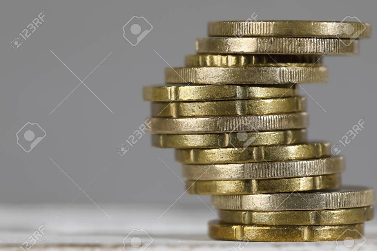 Here is the stack that was created of euro coins. - 136759513