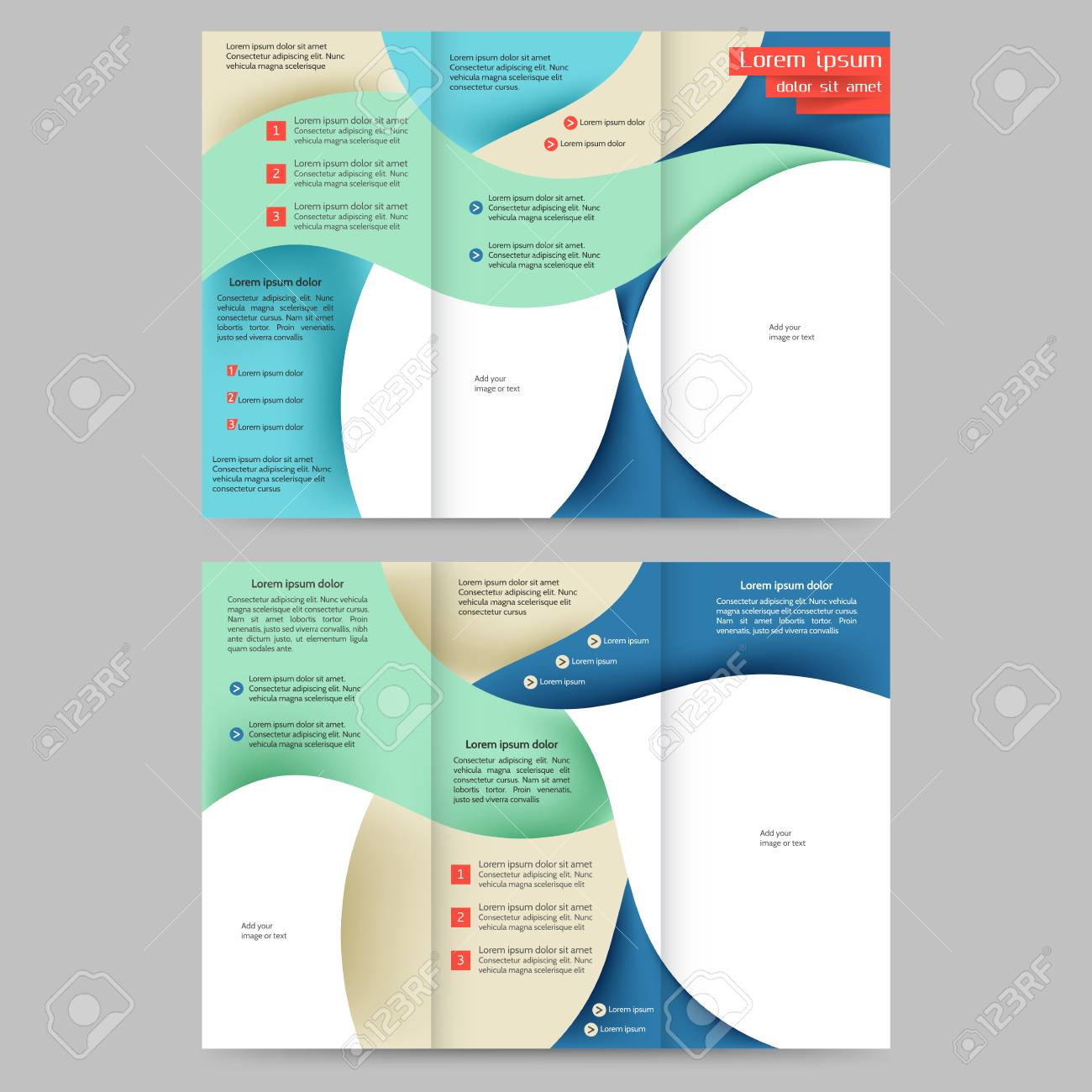 Cool Colored Tri Fold Business Brochure Design Template With
