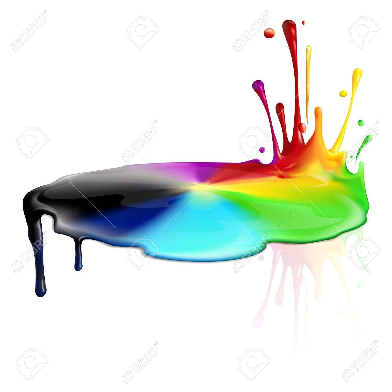 Colorful and colorless paint splashing - 13683100