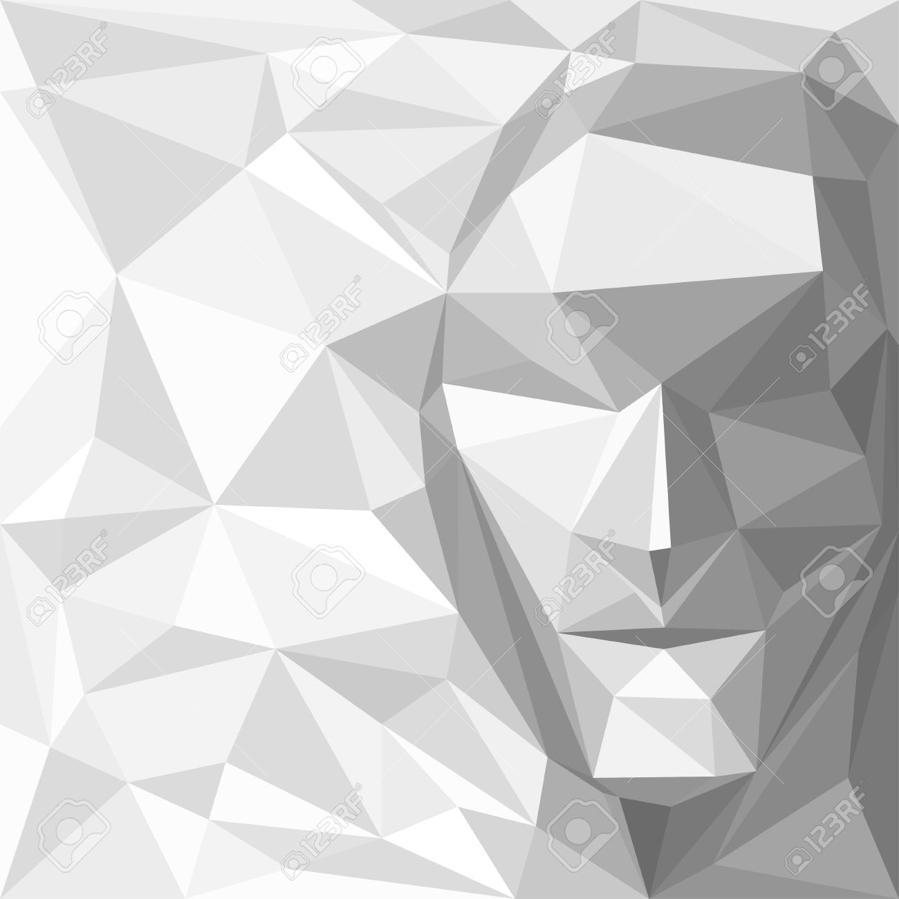 Abstract Background with Face Made of Geometric Shapes - 24826286