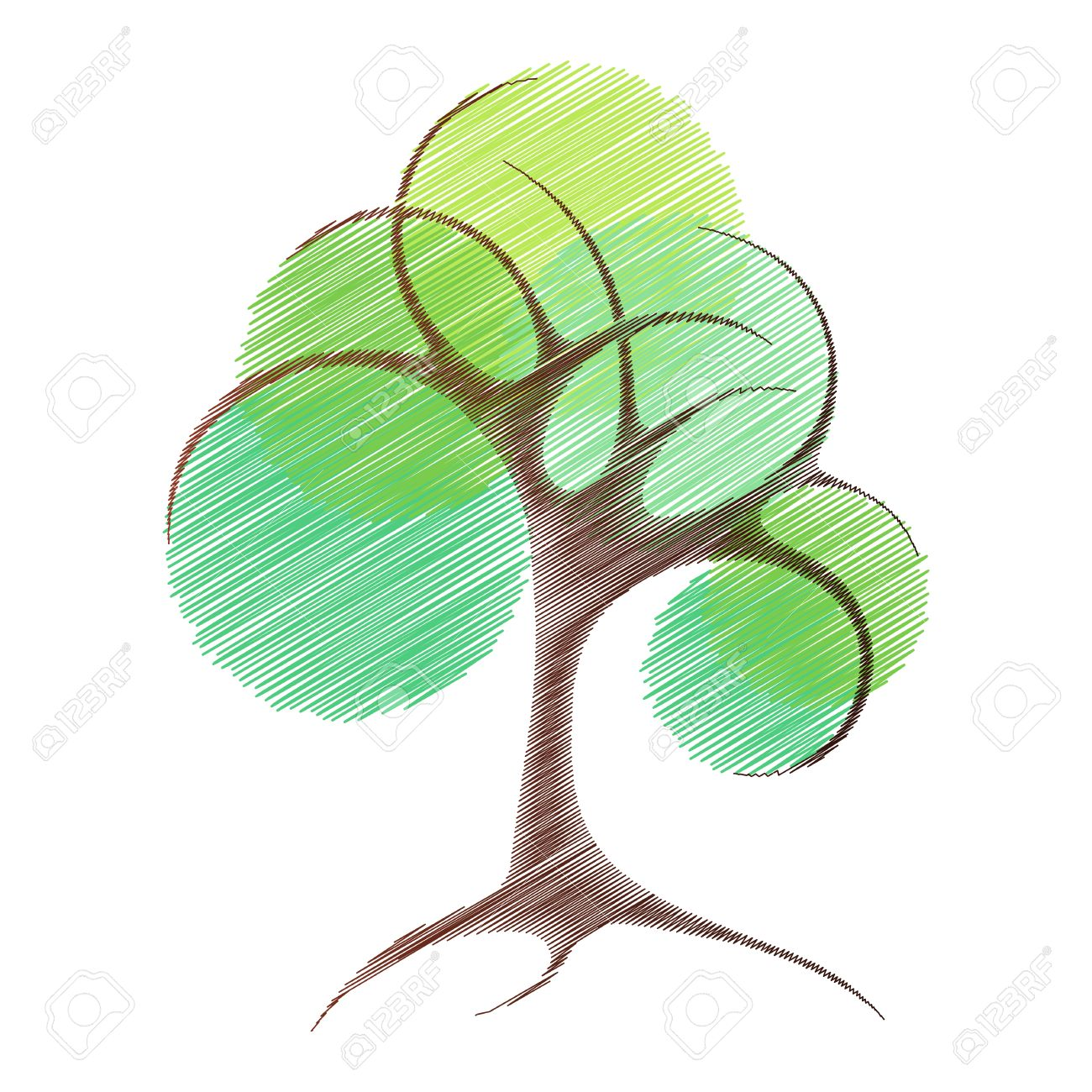 abstract vector tree sketch of stylized tree royalty free