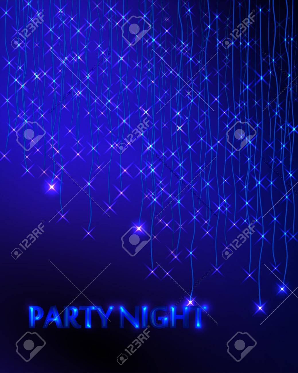 Abstract Background with Garland. Blue Lights. Party Invitation - 37379843