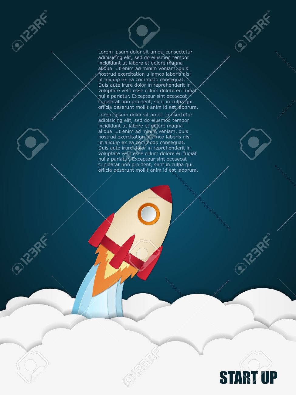 Space rocket launch. Start up concept. Vector illustration. Can be used for presentation, web page, booklet, etc. - 40163275