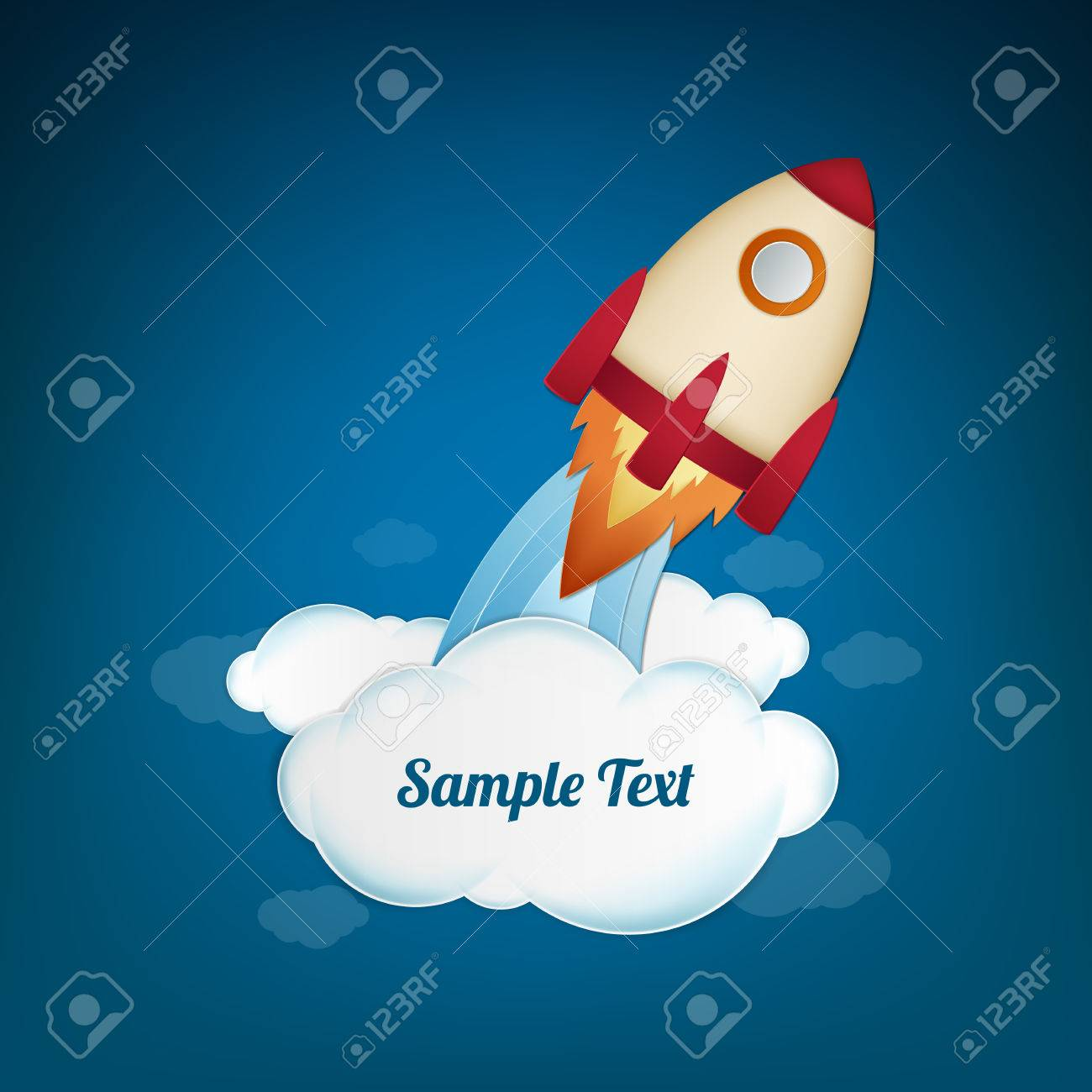 Space rocket launch. Start up concept. Vector illustration. Can be used for presentation, web page, booklet, etc. - 40163276