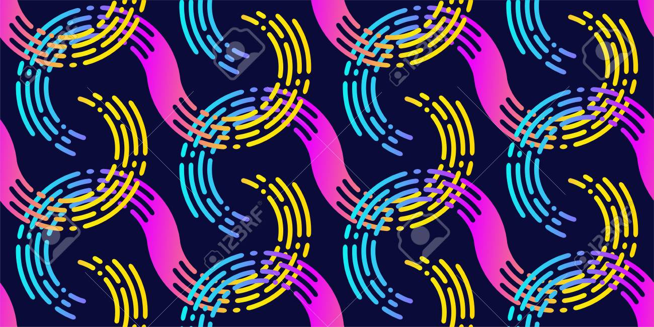 Vector seamless pattern. Stylish graphic waves with gradient. - 125798885