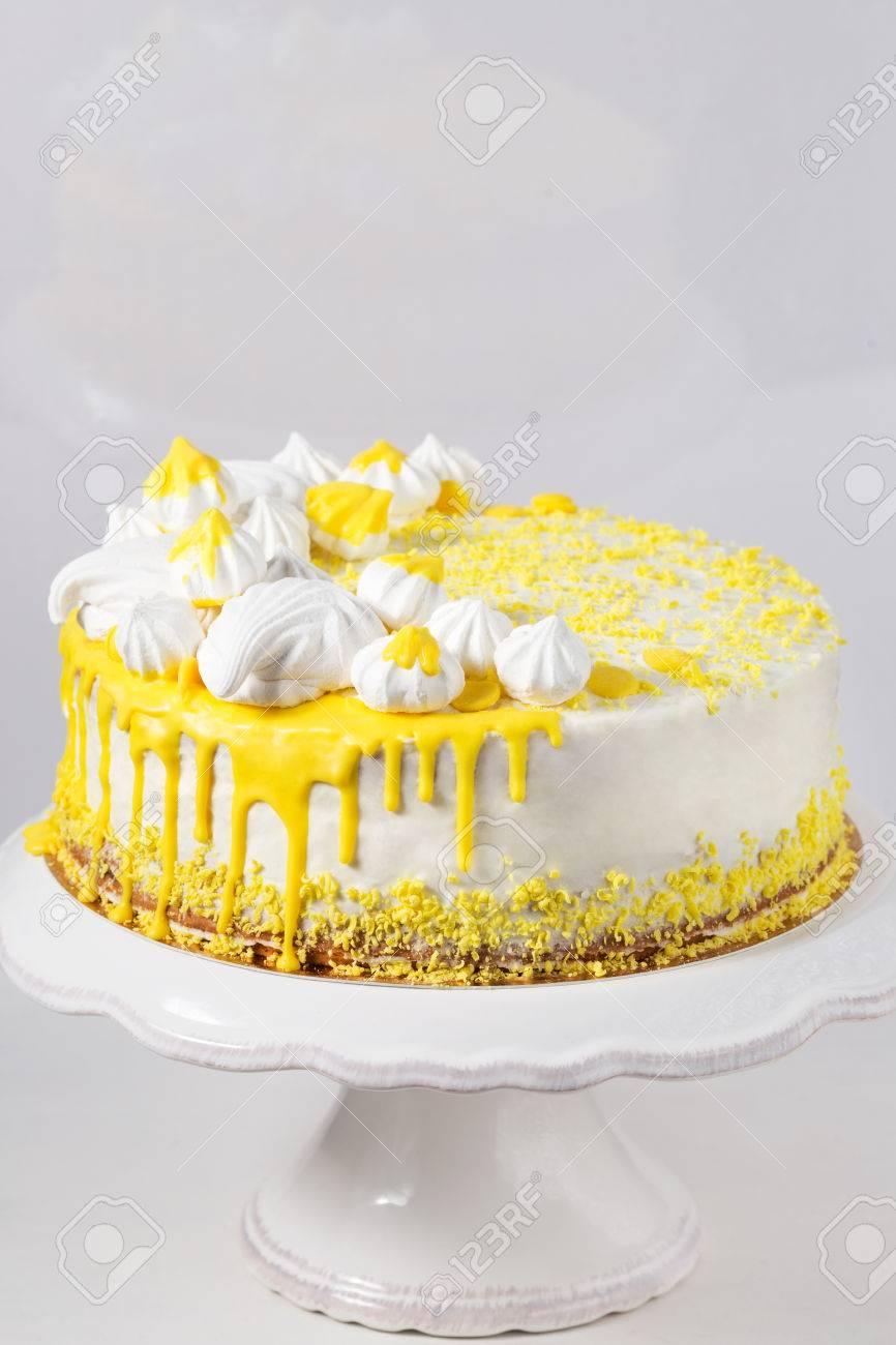 Trendy White Cake With Yellow Chocolate Ganache, Marshmallow.. Stock ...