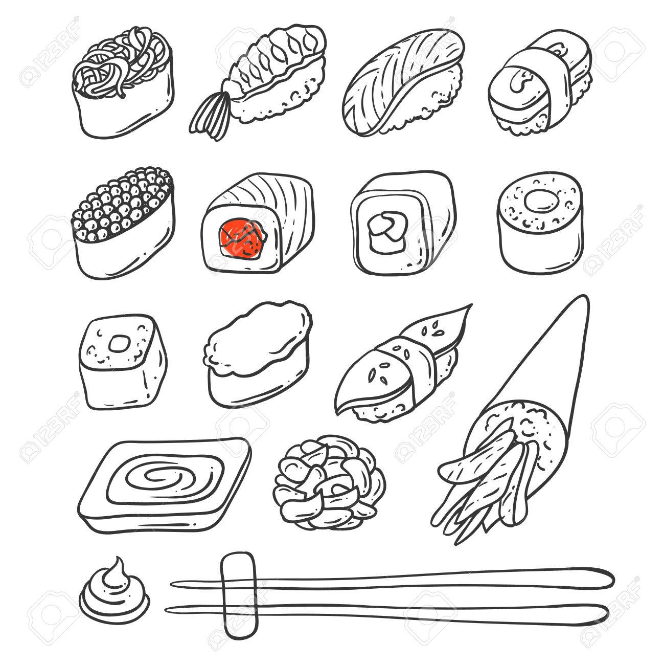 Beautifui hand drawn vector illustration japanese food. Shushi. - 54970875