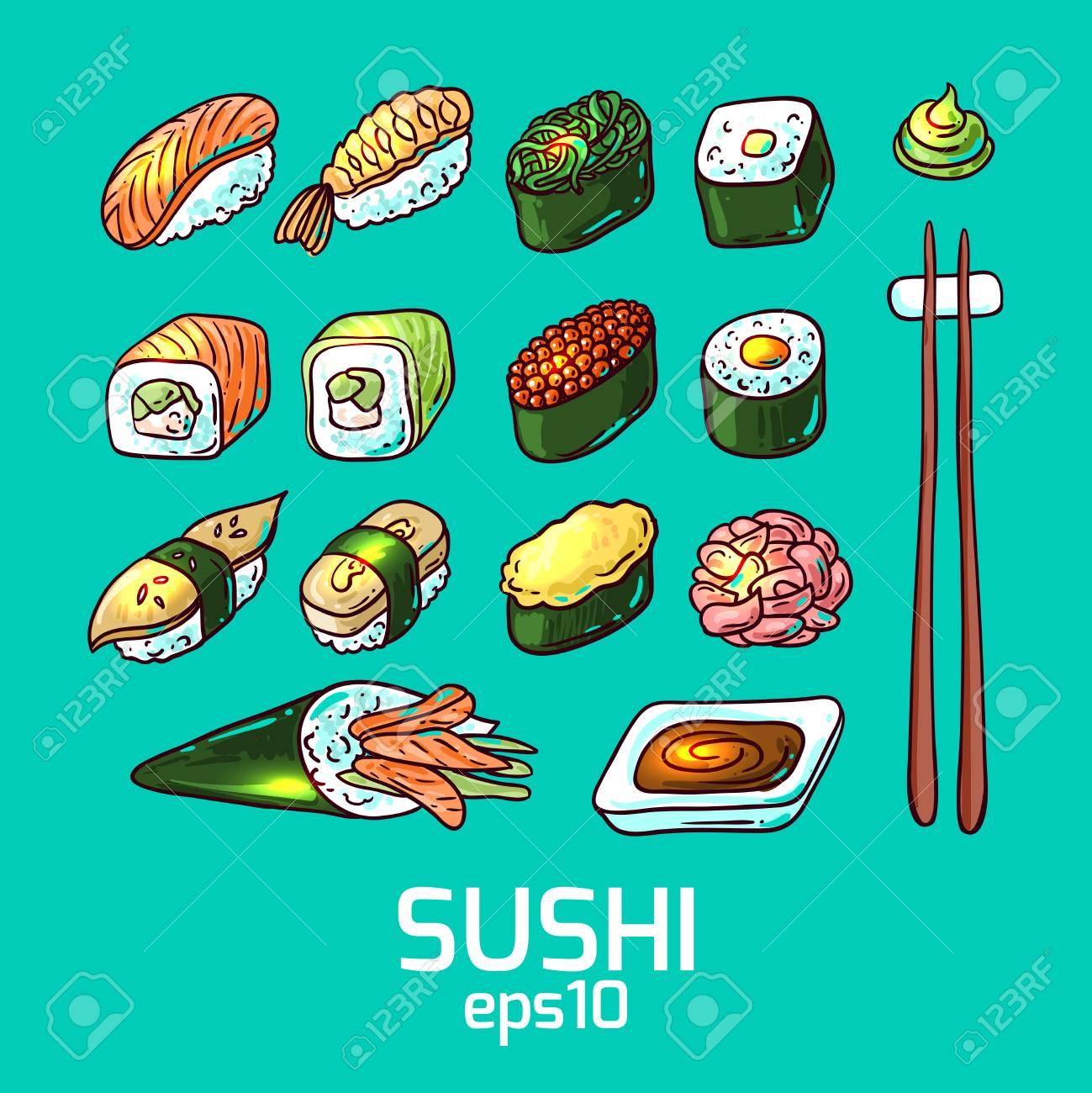 Beautifui hand drawn vector illustration japanese food. Shushi. - 54970878