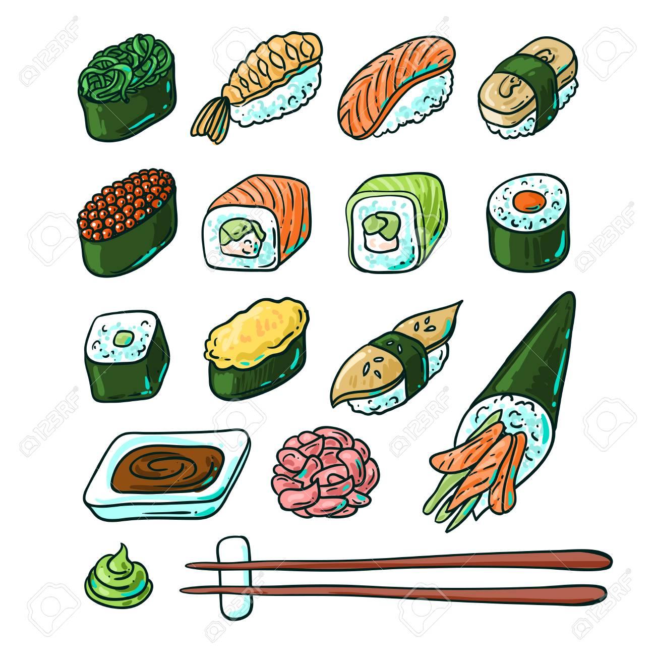 Beautifui hand drawn vector illustration japanese food. Shushi. - 54970881
