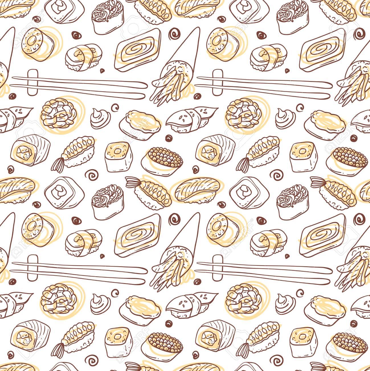 Beautifui hand drawn vector seamless pattern japanese food. Shushi. - 54970884