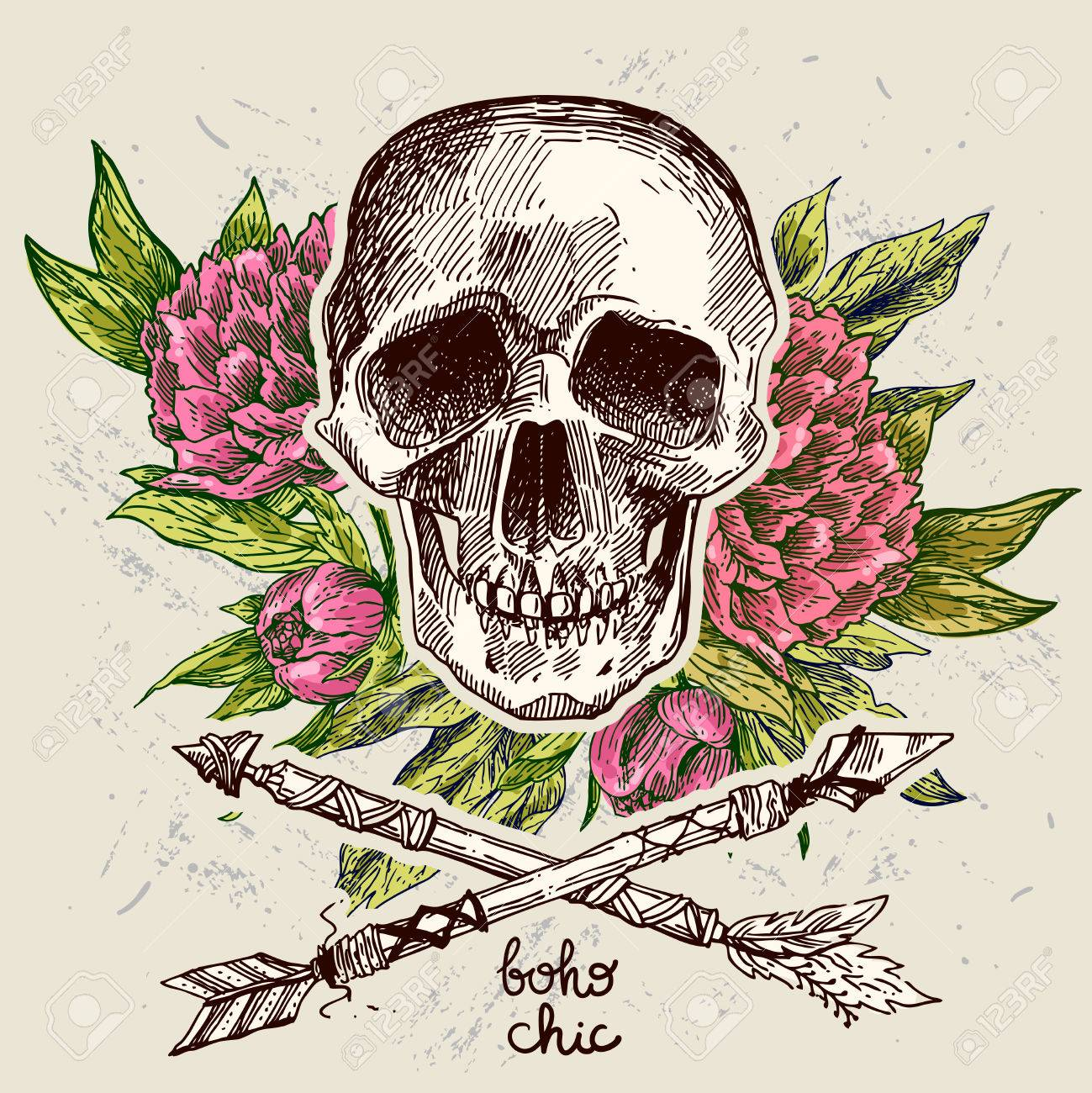 Beautiful Hand Drawn Illustration Boho Flowers Skull Arrows