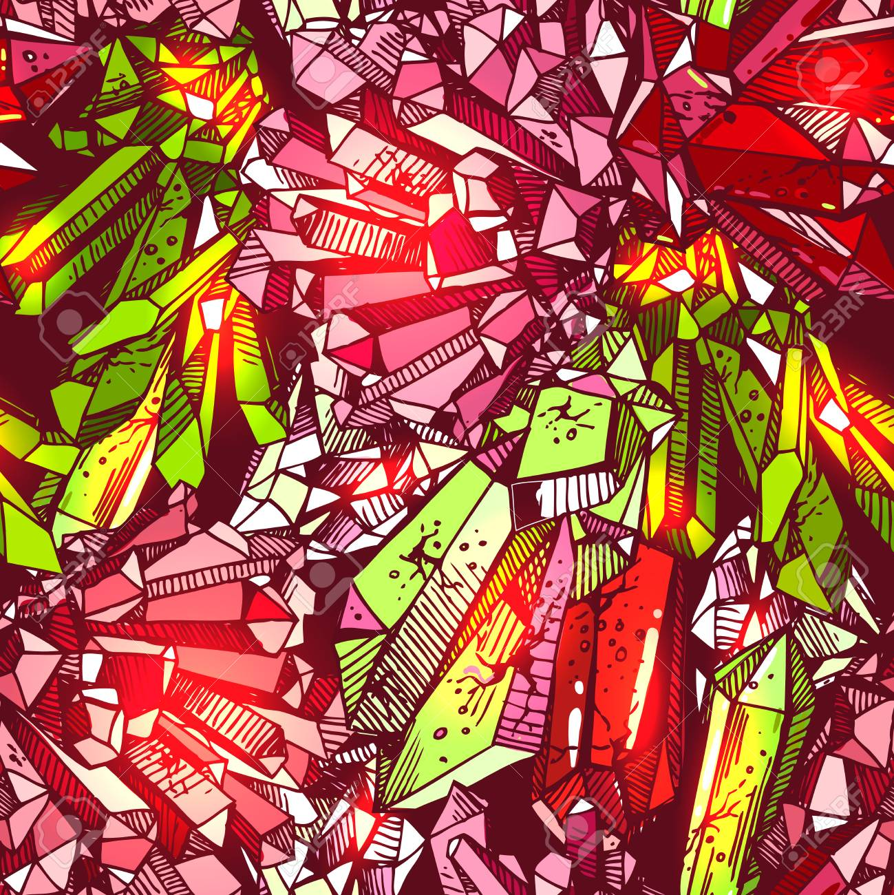 Beautiful Hand Drawn Vector Illustration Sketching Of Crystals ...