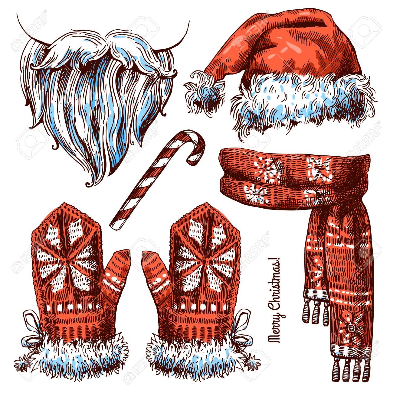85870ea76 Conjunto de Navidad sombrero, bufanda y guantes. Hermosa dibujados a mano  ilustración del estilo
