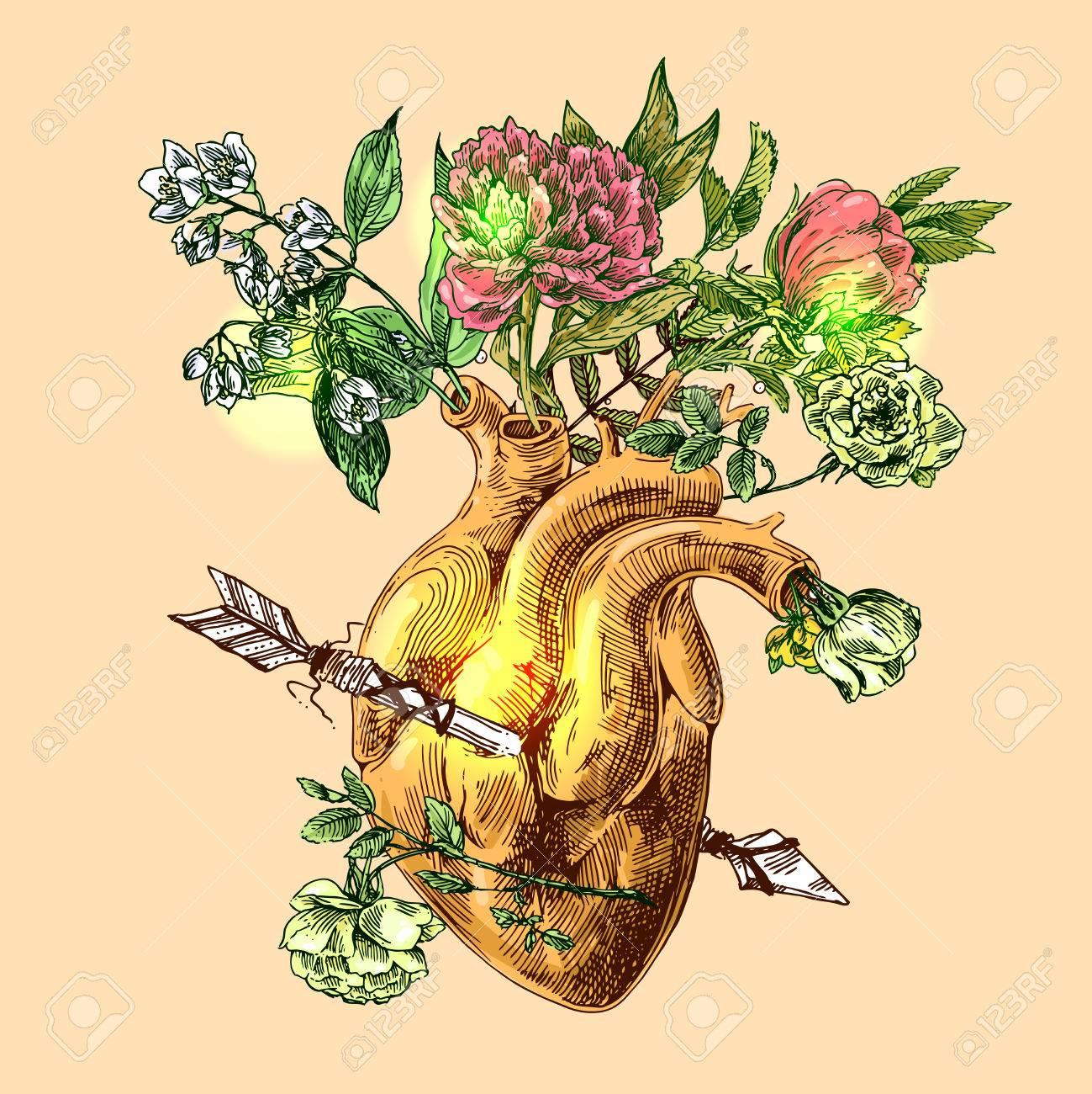 Illustration Avec Croquis De Coeur Humain Et De Fleurs Fond De Vecteur Dessiné Main Dessin De Style Boho Nous Pour Imprimer Pour Le Web De