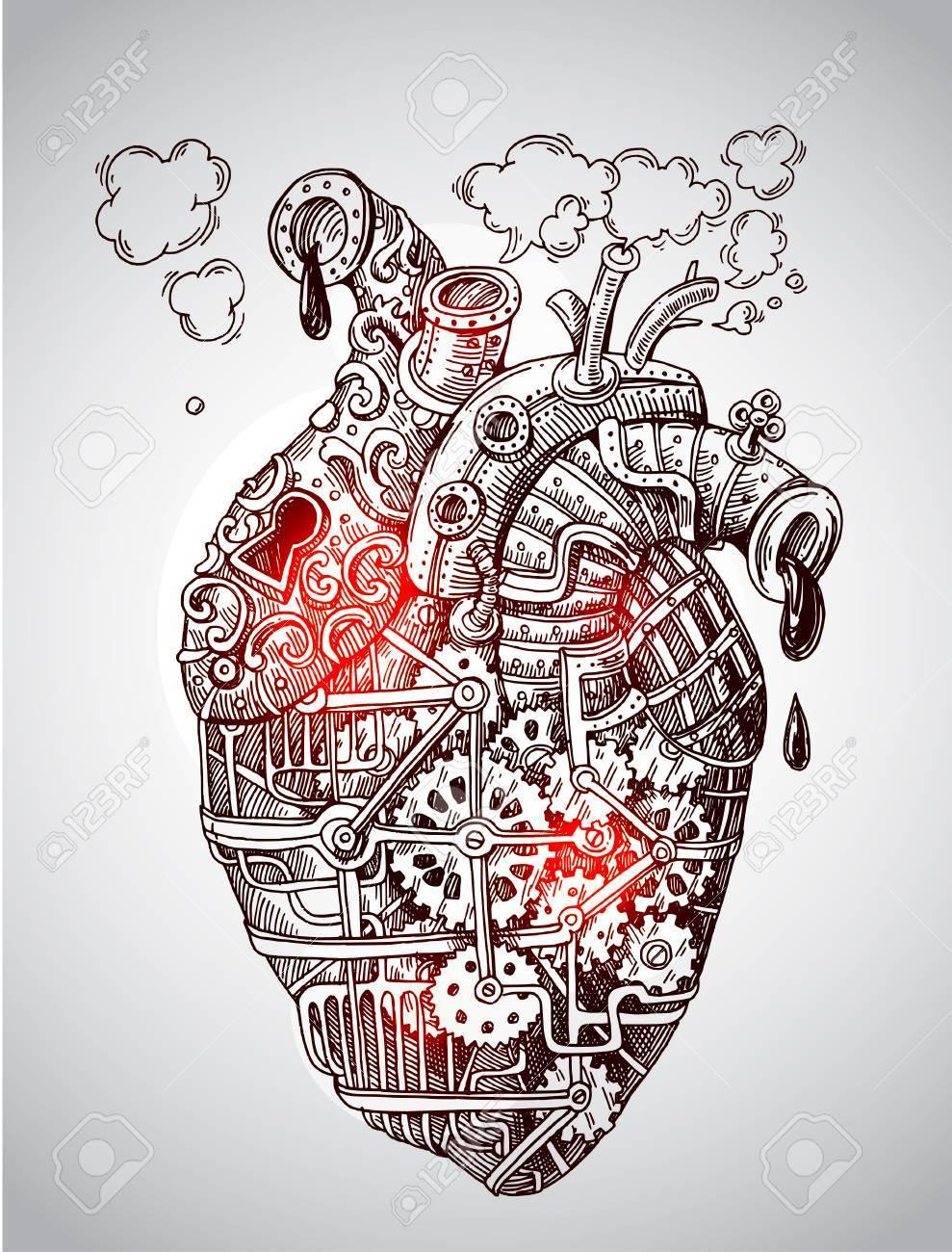 Ilustración Mecánica Del Corazón. Dibujado A Mano De Vectores ...