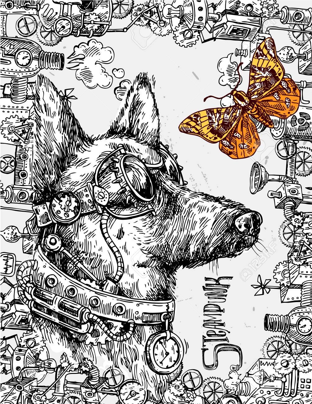 犬の手描きの背景スケッチスチーム パンクなスタイルのイラストの