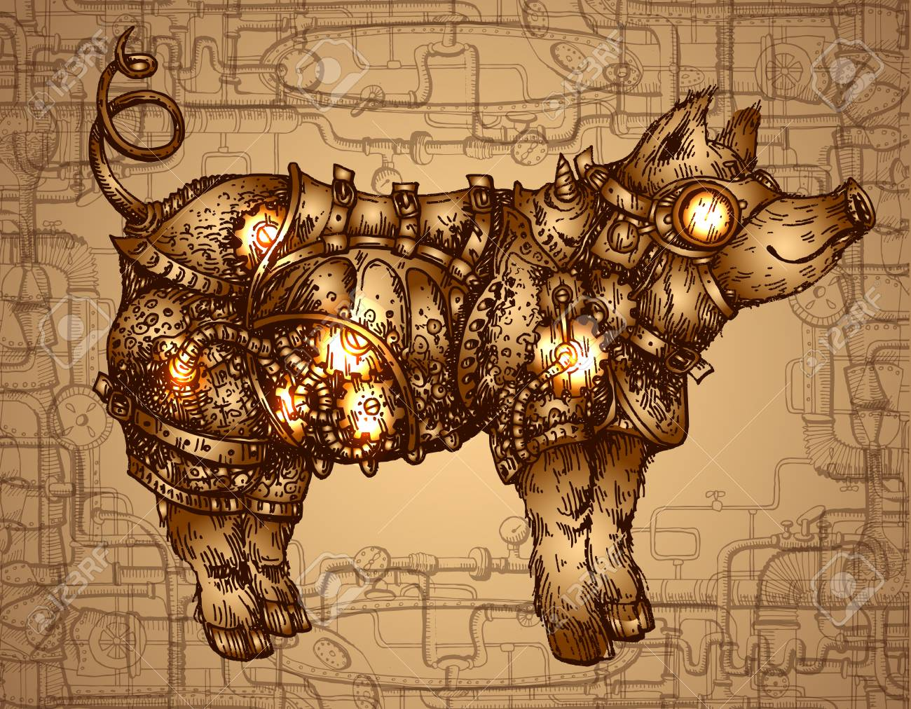 Hand drawn vector illustration steampunk pig. Sketch style drawing - 112007635