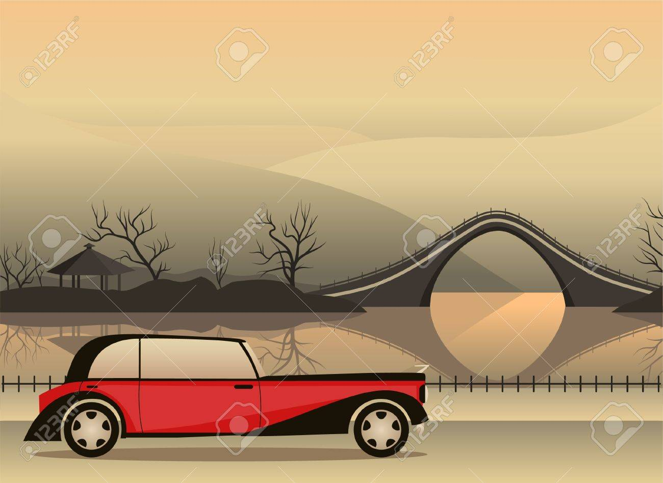 red retro car against a Japanese landscape Stock Vector - 9875195