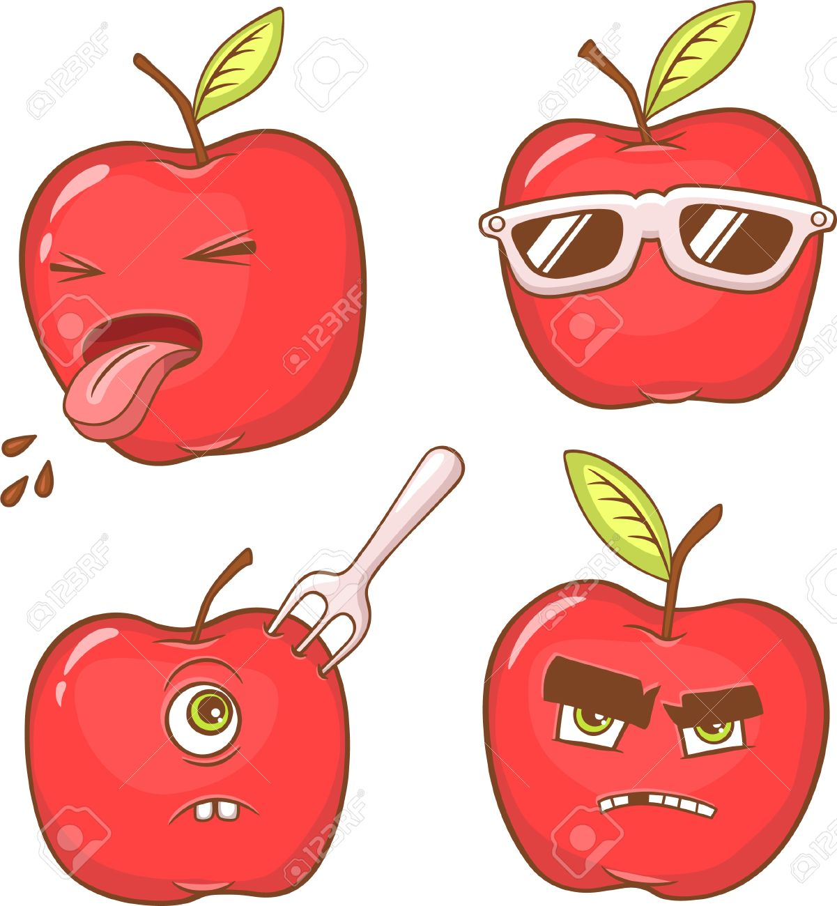 four red apples with diffrent emotions and faces royalty free