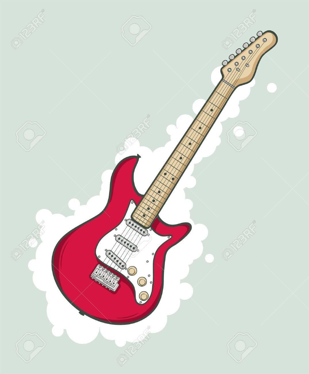 Stylise Guitare Electrique De Couleur Rose Clip Art Libres De Droits Vecteurs Et Illustration Image 10203840