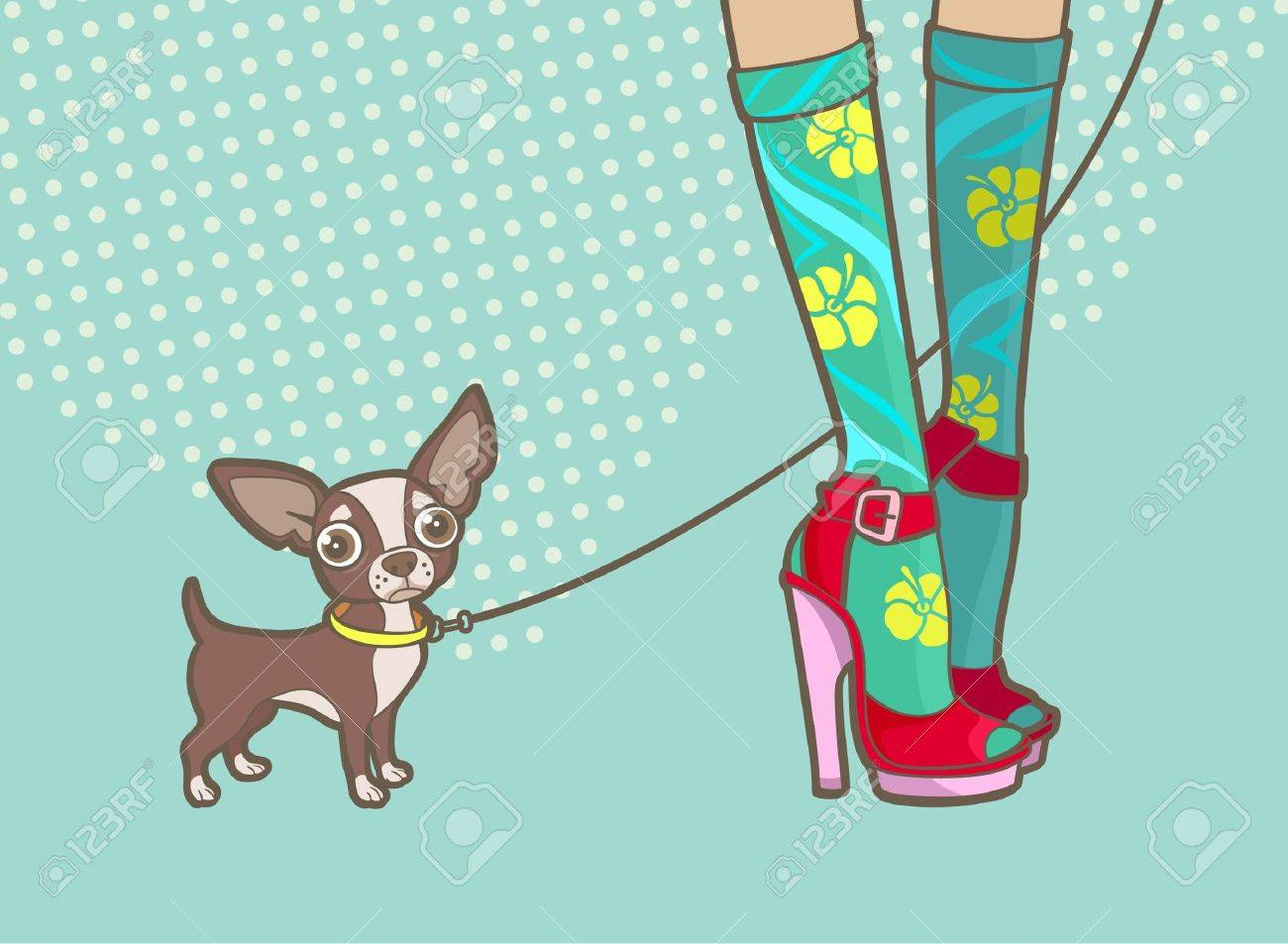 lovely female legs and a little dog Stock Vector - 16330526