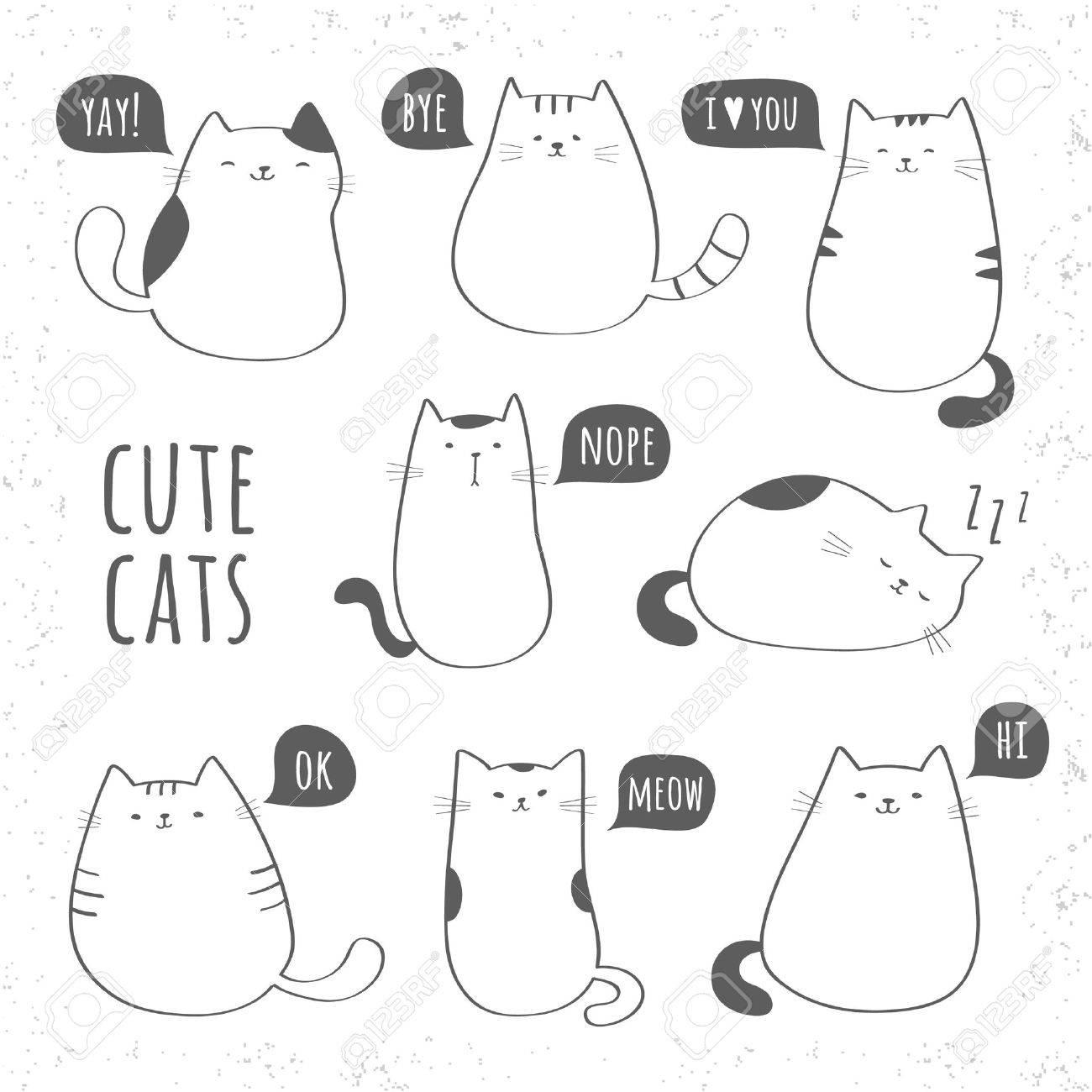 面白いかわいい猫のセットのイラスト素材 ベクタ Image