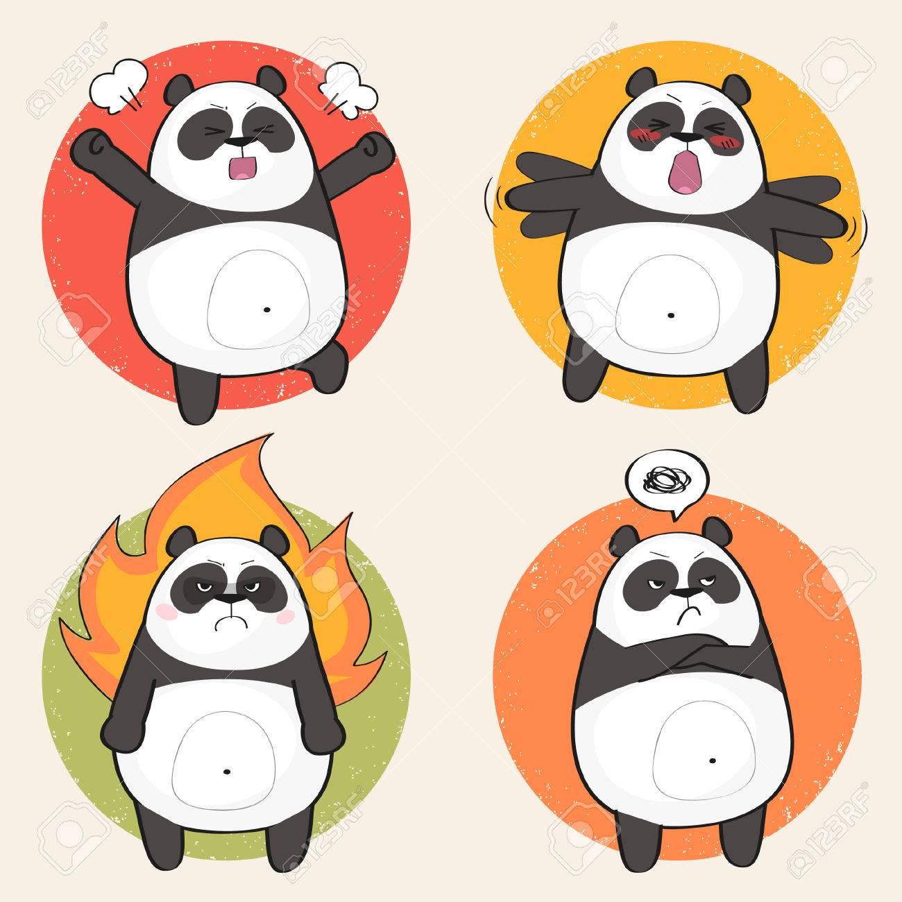 set of cute panda bear stickers in various poses angry cartoon