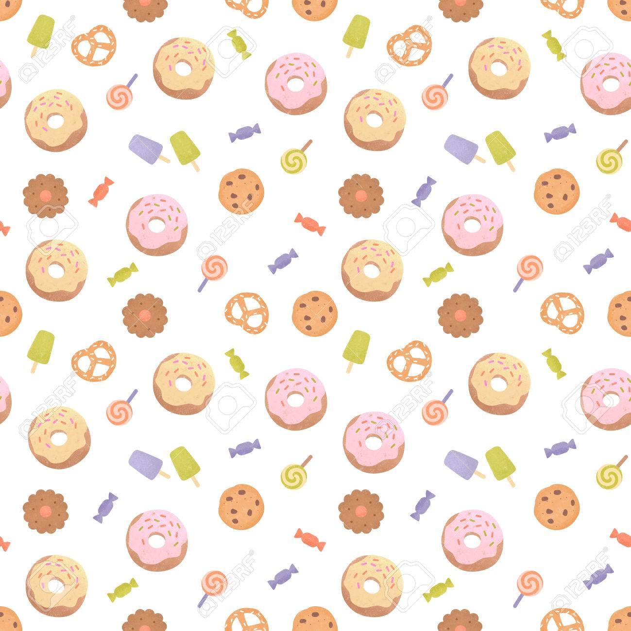 様々 なお菓子とのシームレスなパターン お菓子 ドーナツ クッキーでかわいいカラフルな背景 イラスト絵画 の写真素材 画像素材 Image