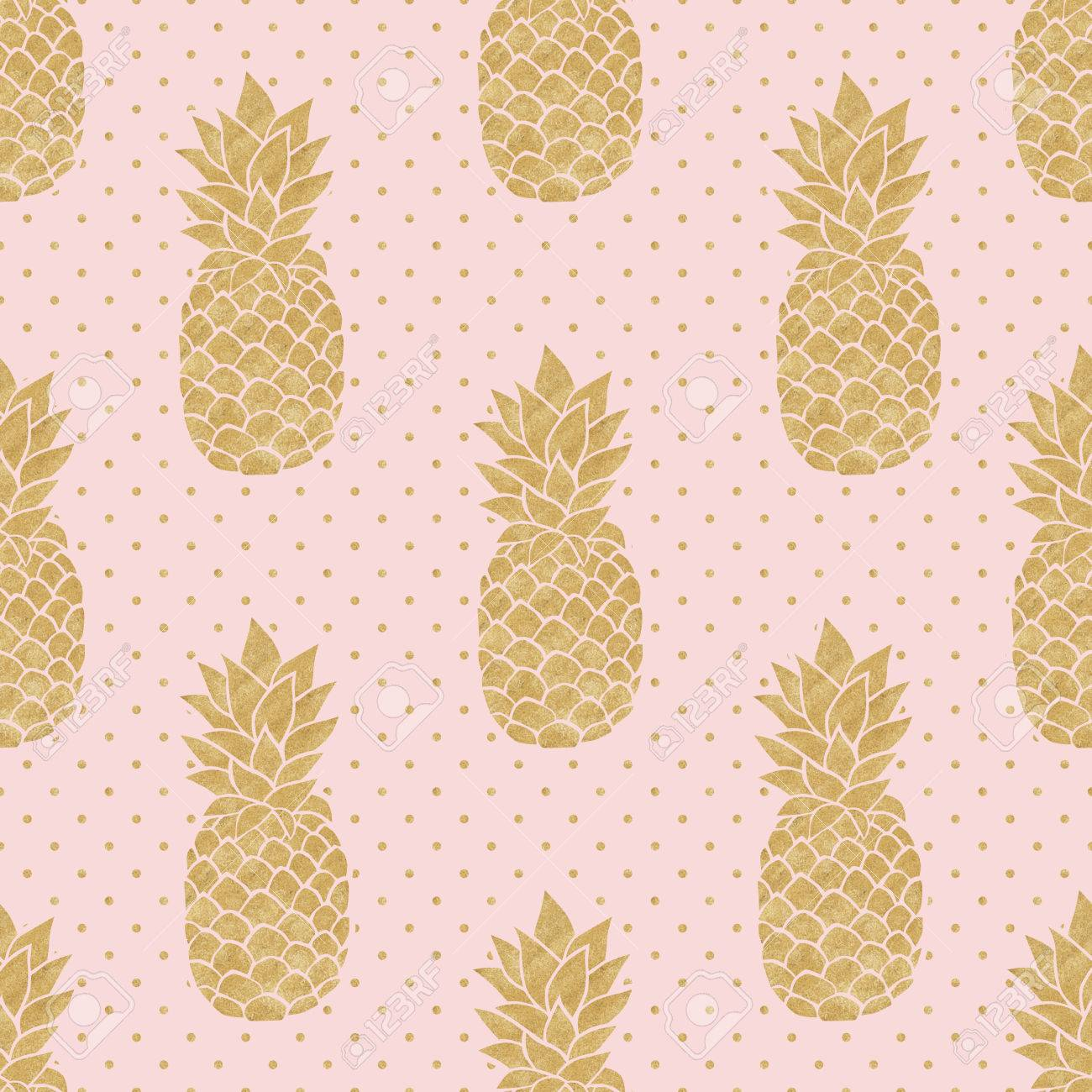 Seamless Pattern With Gold Pineapples On Polka Dot Background