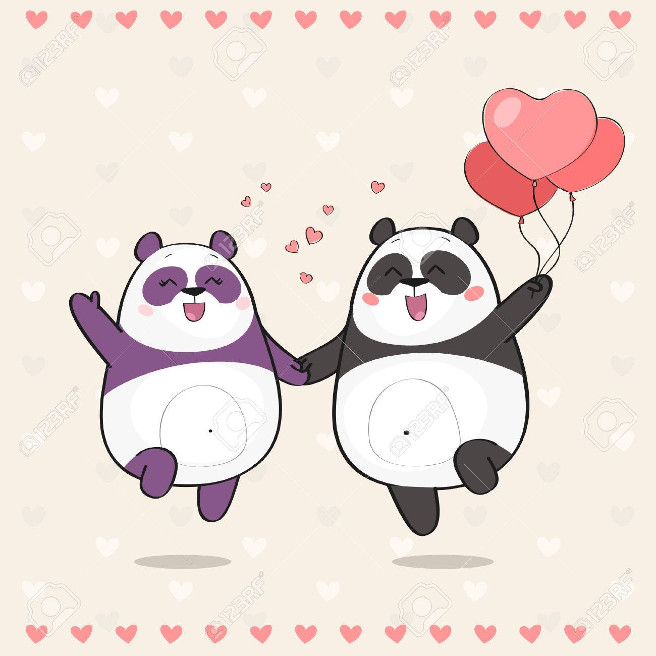 Cute Par De Pandas En El Amor Tarjeta Feliz Del Dia De Tarjetas