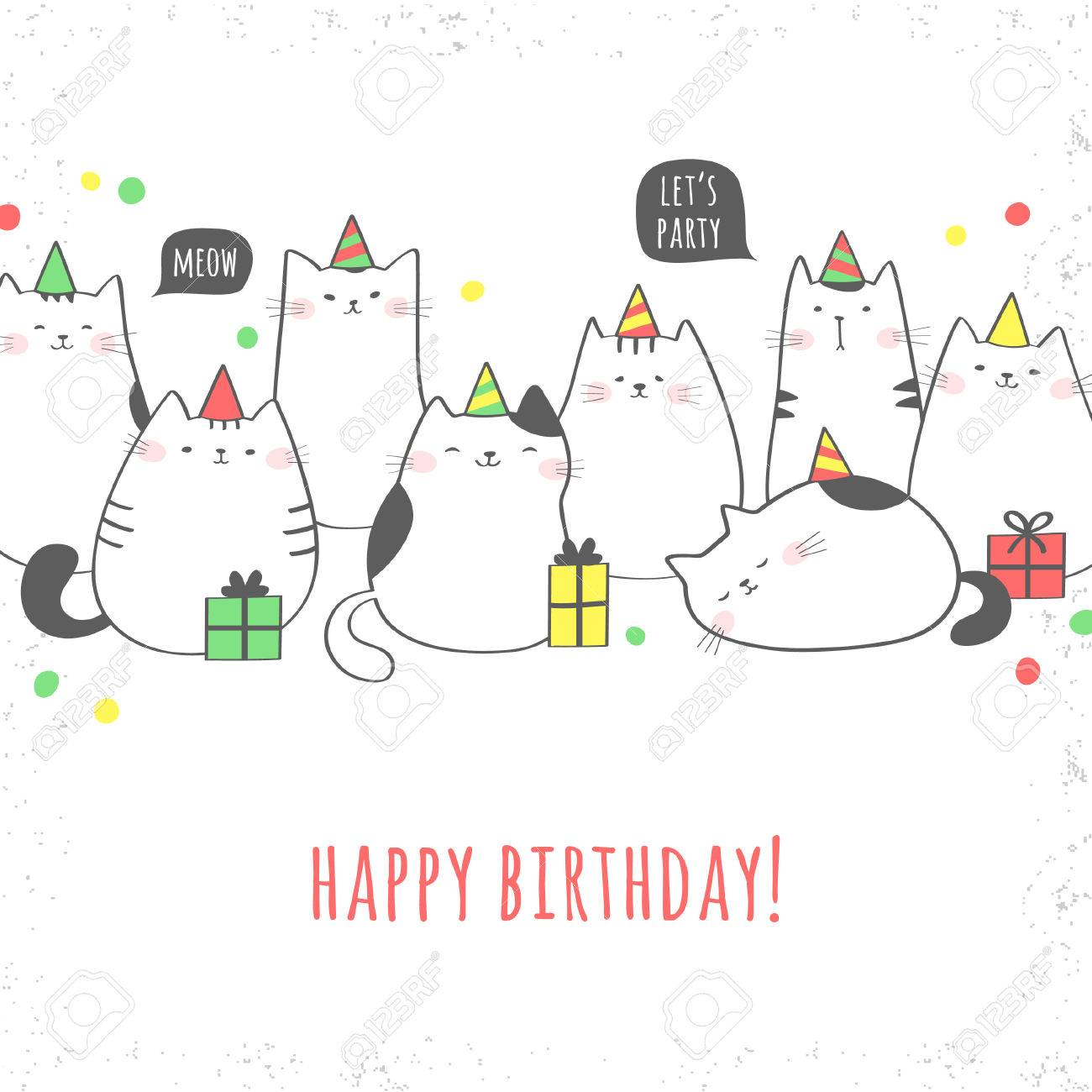 Happy Birthday Greeting Card With Cute Cats And Gifts Party Vector Illustration Stock