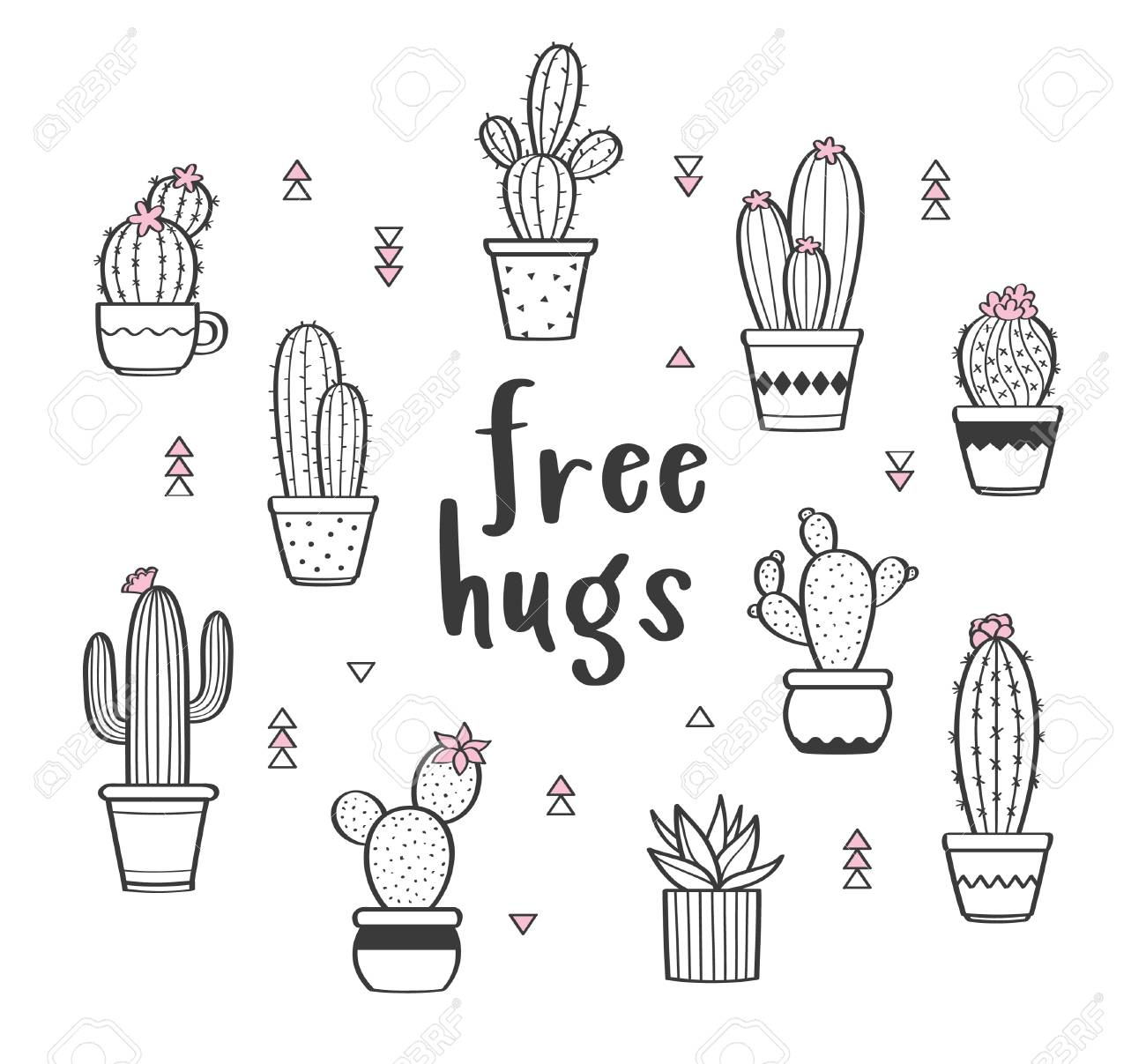 Vector set with various hand drawn outline cactuses in flowerpots. Cute hand drawn cactus print with inspirational quote isolated on white. Free hugs - 105207216