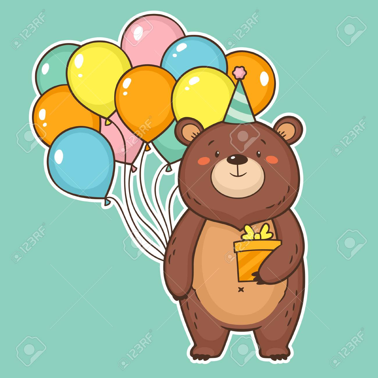 Cute Happy Birthday Card With Funny Bear Holding Air Balloons And A Gift Box