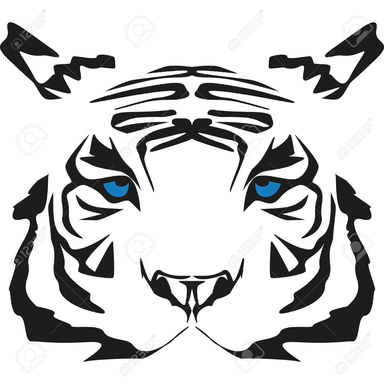 White Tiger With Blue Royalty Free Cliparts