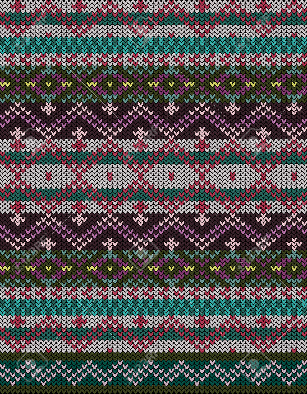Fair Isle knitted colorful seamless pattern, scandynavian style - 159637248