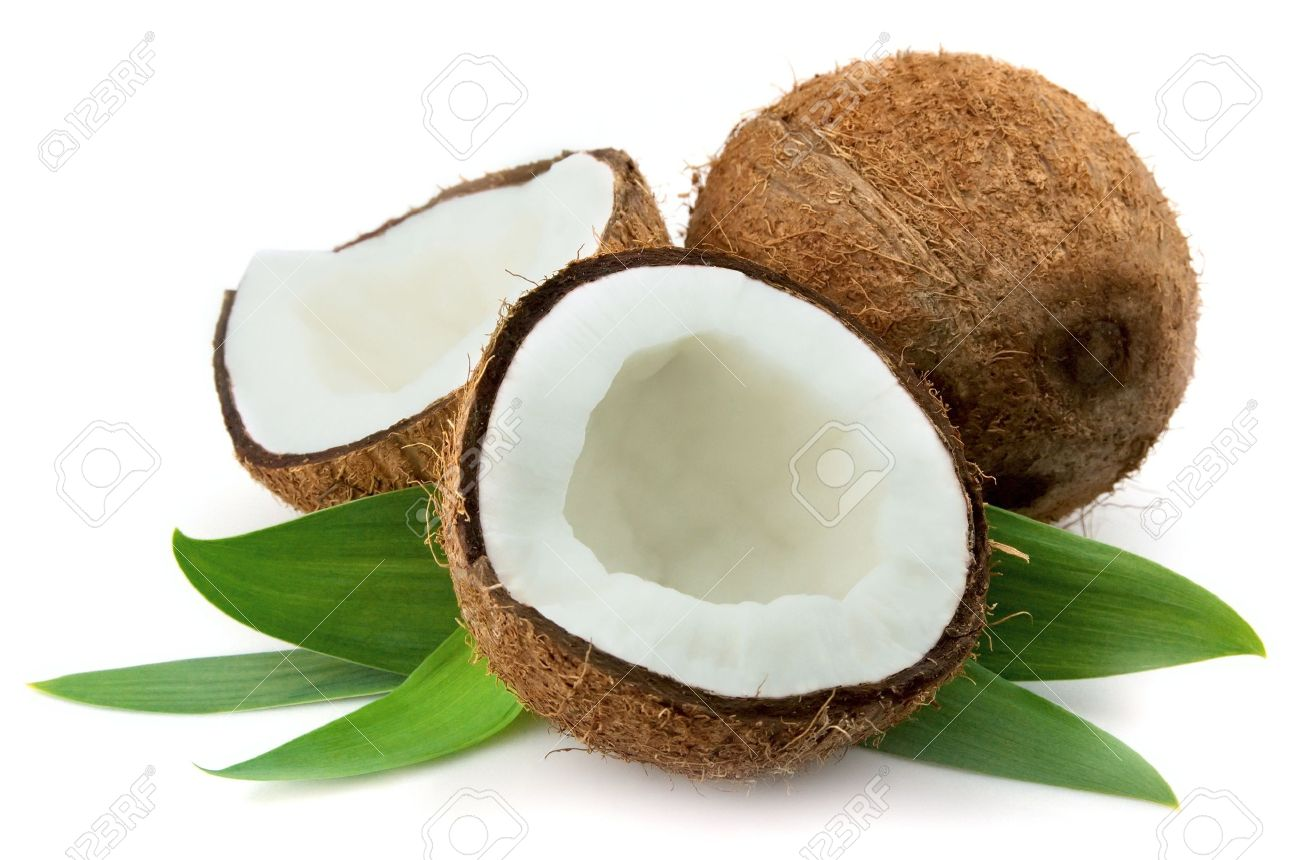 Coconut with leaves closeup on a white background Stock Photo - 9321126