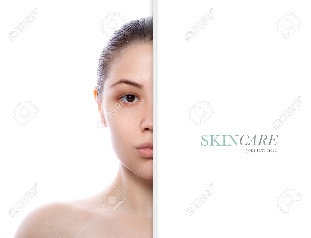 Beautiful model girl with perfect fresh clean skin. Half face portrait. - 148871327