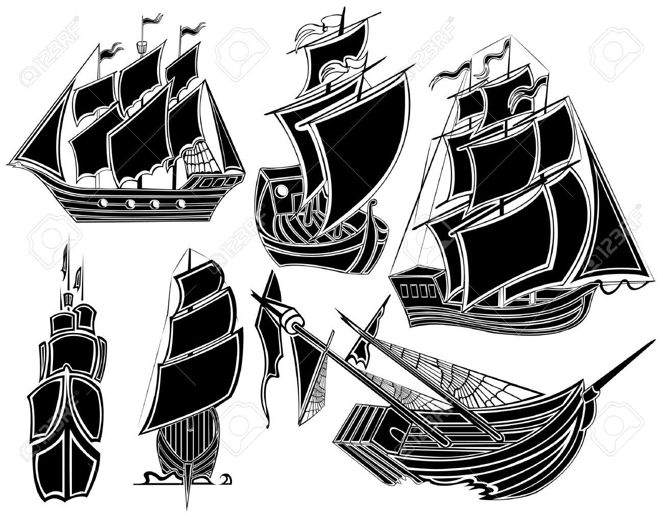 Barco Pirata Barco Silueta Brújula Ilustraciones Vectoriales, Clip ...