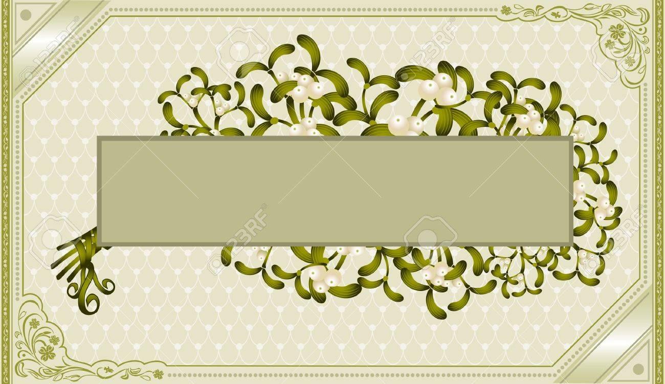vintage frame old background mistletoe Stock Vector - 18181189