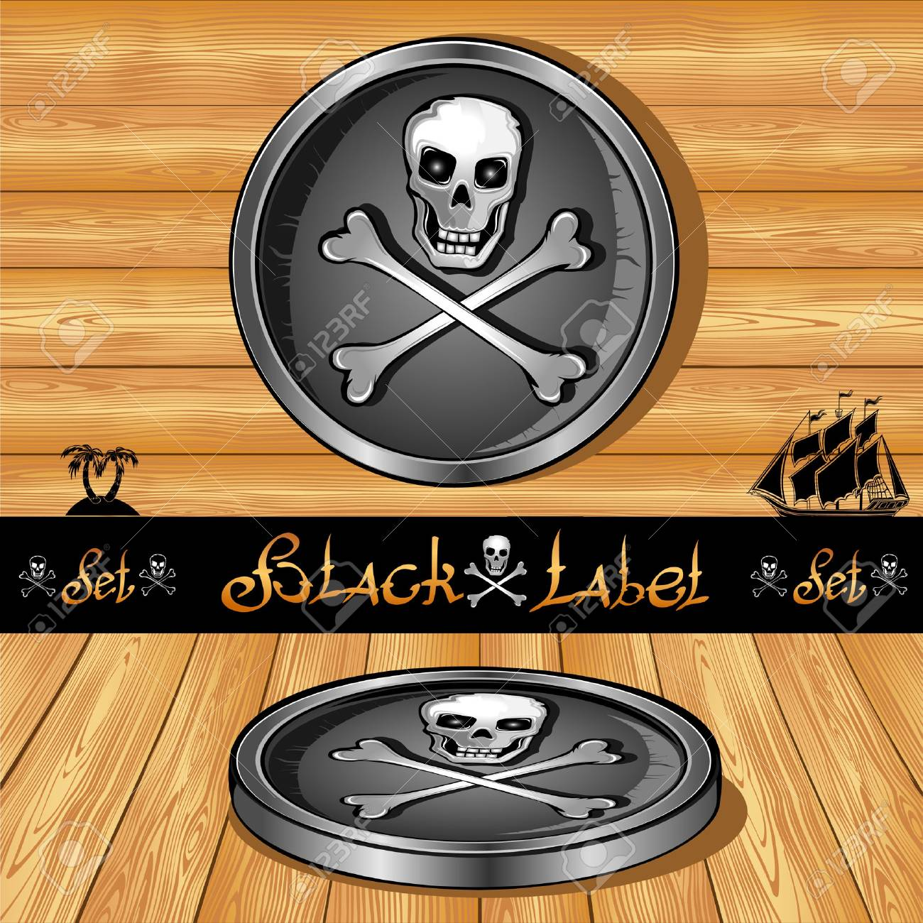 black label right and perspectiv on wooden background Stock Vector - 18181224